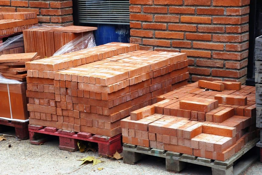 Bricks on Wood Pallets
