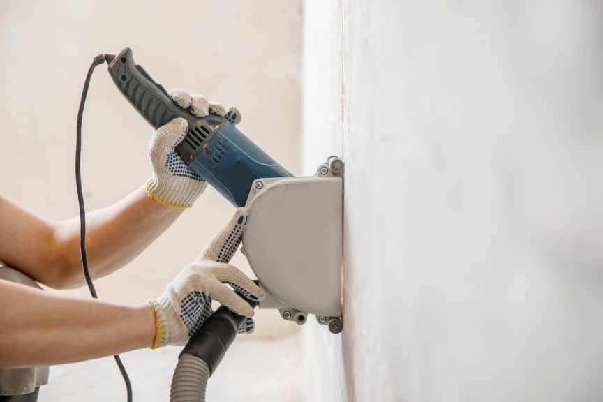 Cutting Electrical Chase in Wall with Circulation Saw Drill