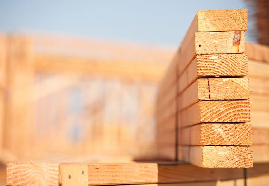 Wood Lumber at Construction Site